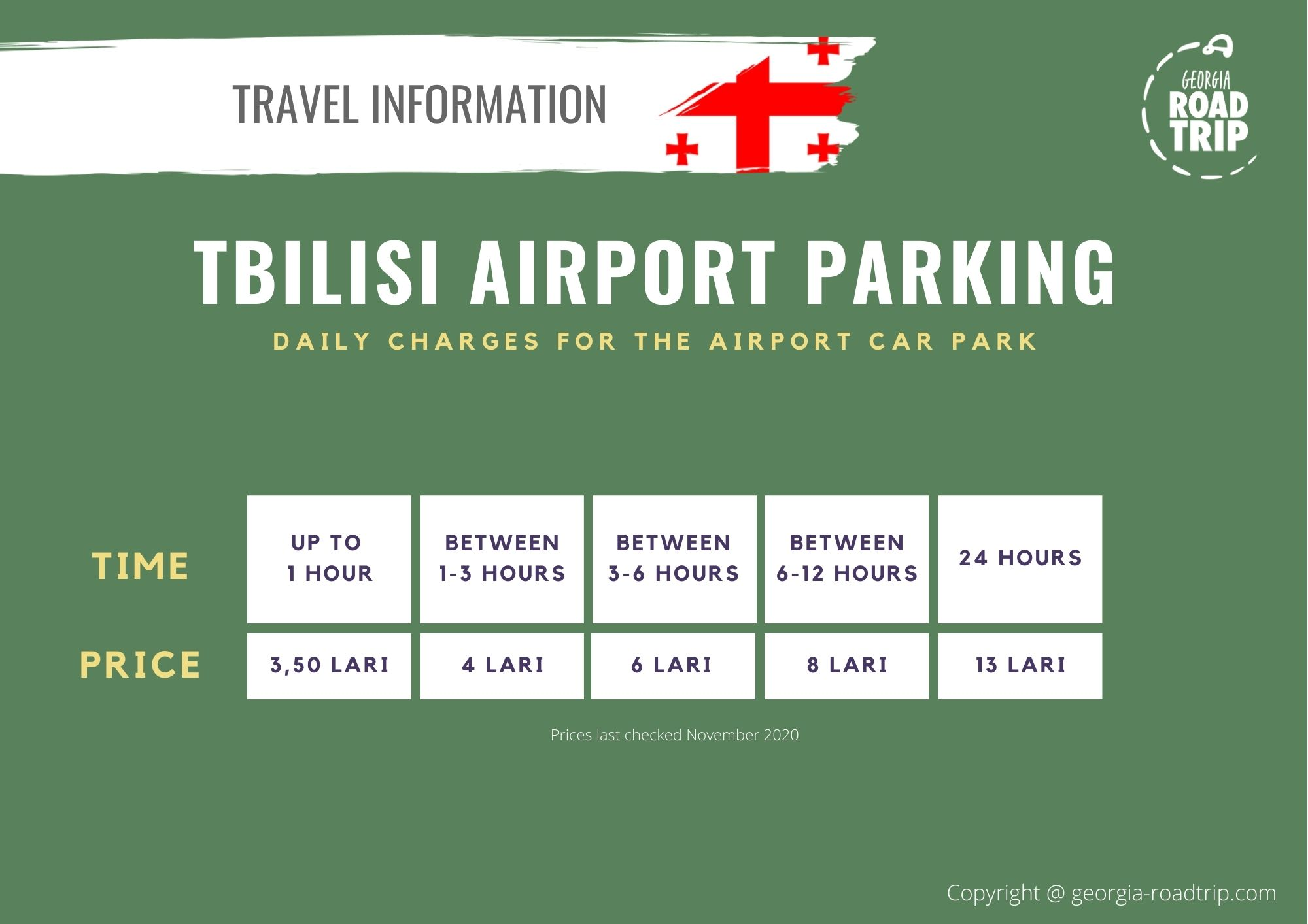 tbilisi airport parking prices