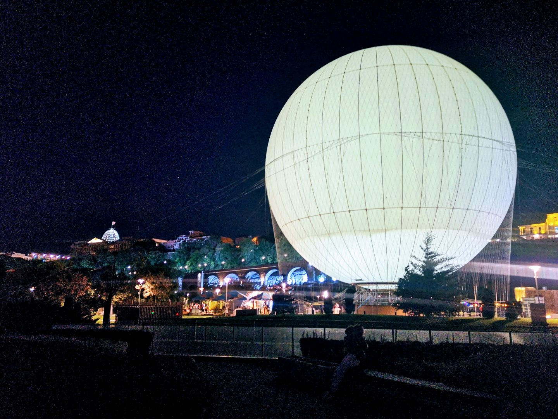 hot air balloon rike park tbilisi at night